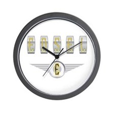 The Flying Edsel Hood Ornament in Gold Wall Clock