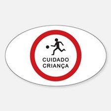 Caution Playing Children - Brazil Oval Decal