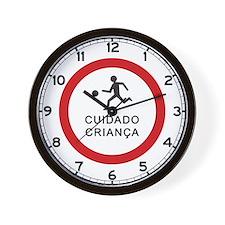Caution Playing Children - Brazil Wall Clock
