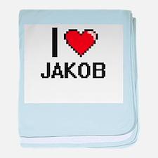 I Love Jakob baby blanket