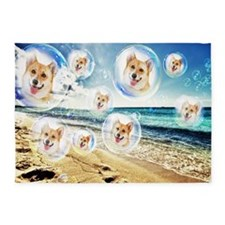 Beach Corgis 5'x7'Area Rug