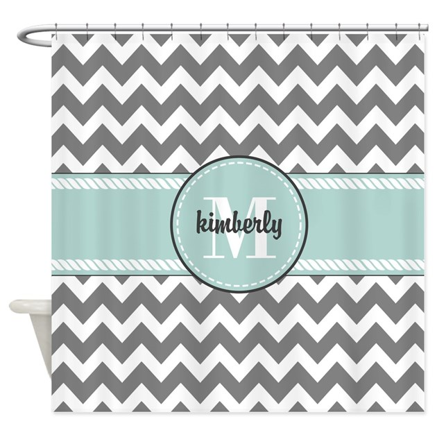 Gray And Mint Chevron Custom Monogr Shower Curtain By