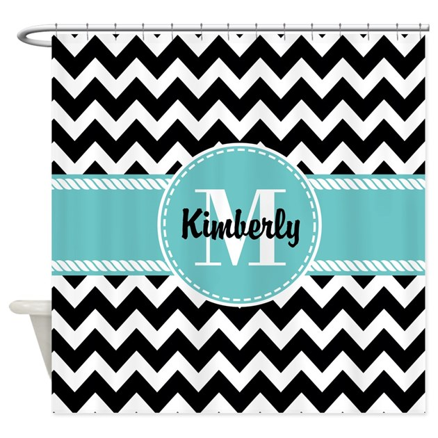 Black And Turquoise Chevron Custom Shower Curtain By CustomGifts2