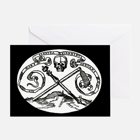 Skull & Scepter/black Greeting Card