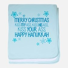 Merry Chirstmas Happy Hanukkah-01 baby blanket