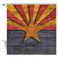 Vintage Arizona Flag Distressed Woo Shower Curtain