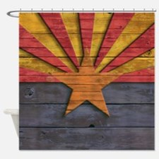 Vintage Arizona Flag Distressed Woo Shower Curtain