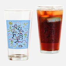 Kokopelli (blue) Drinking Glass