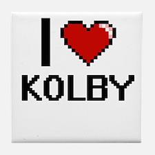 I Love Kolby Tile Coaster