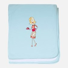 WOMAN WITH FUDGE baby blanket