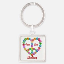 Quilting Peace Love Square Keychain