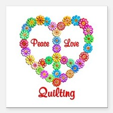 """Quilting Peace Love Square Car Magnet 3"""" x 3"""""""