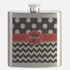 Black Red Dots Chevron Personalized Flask