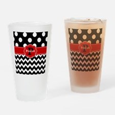 Black Red Dots Chevron Personalized Drinking Glass