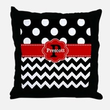 Black Red Dots Chevron Personalized Throw Pillow