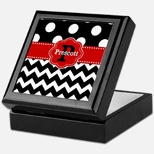 Black Red Dots Chevron Personalized Keepsake Box