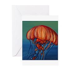 Orange Jellyfish Greeting Cards
