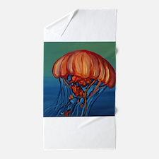 Orange Jellyfish Beach Towel