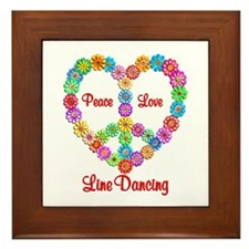 Line Dancing Peace Love Framed Tile