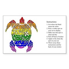 Rainbow Turtle Collage Rectangle Decal