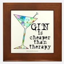 GIN is cheaper than therapy Framed Tile