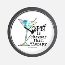 GIN is cheaper than therapy Wall Clock