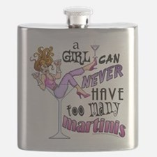 A Girl Can Never Have Too Many MARTINIS! Flask