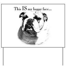 Bulldog Happy Face Yard Sign