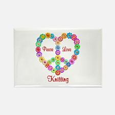 Knitting Peace Love Rectangle Magnet