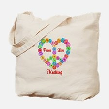 Knitting Peace Love Tote Bag