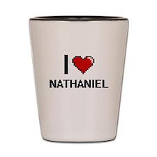 I Love Nathaniel Shot Glass