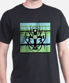Black Cross on Green and Blue Background T-Shirt
