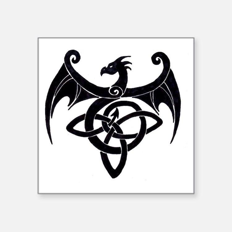 """Celtic Dragon Square Sticker 3"""" x 3"""""""