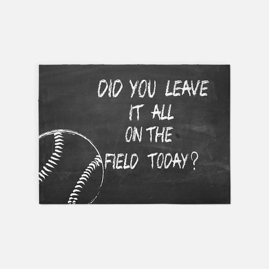 On the field baseball motivational 5'x7'Area Rug