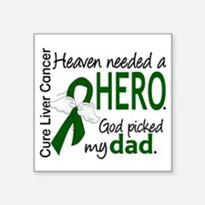 "Liver Cancer HeavenNeededHe Square Sticker 3"" x 3"""