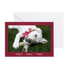 Be Happy Yellow Labrador Greeting Card - blank