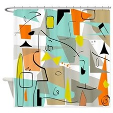 Mid-Century Modern Abstract Shower Curtain