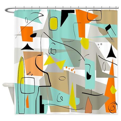 Mid Century Modern Abstract Shower Curtain