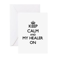 Keep Calm and My Healer ON Greeting Cards