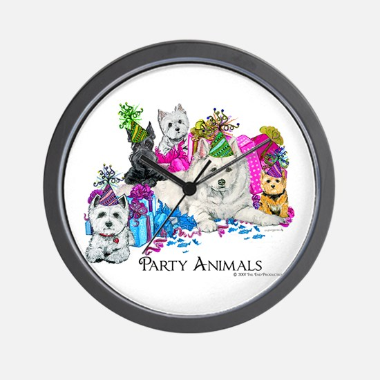 Westie Party Dogs Wall Clock