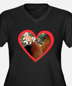 Red Panda Heart Women's Plus Size V-Neck Dark T-Sh