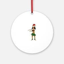 Christmas Hula Girl Ornament (Round)