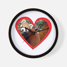 Red Panda Heart Wall Clock