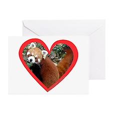 Red Panda Heart Greeting Cards (Pk of 10)