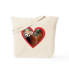 Red Panda Heart Tote Bag