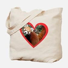 Red Panda Heart Tote Bag