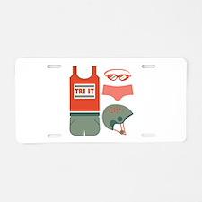 Tri It Aluminum License Plate