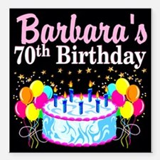 """70TH PARTY GIRL Square Car Magnet 3"""" x 3"""""""