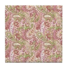 Baby Pink Watercolor Paisley 2 Tile Coaster