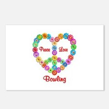 Bowling Peace Love Postcards (Package of 8)